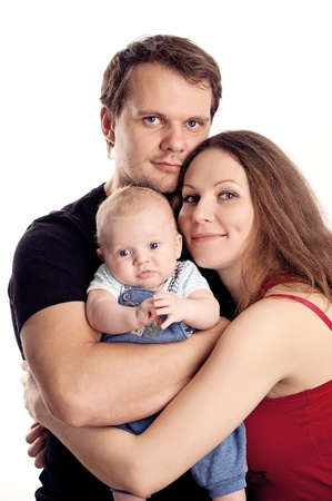 Young caucasian couple with two-month old son