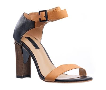 heel strap: High heel sandal isolated over white  Stock Photo
