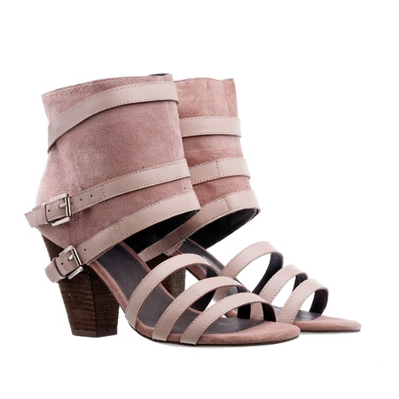 ankle strap: Ladies ankle high summer shoes over white