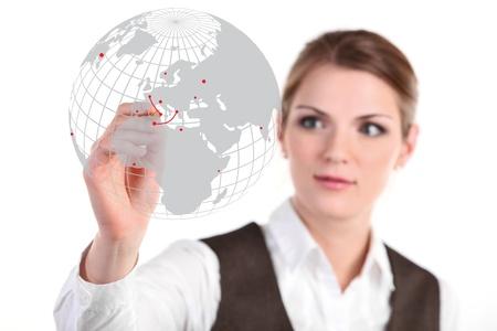 femme dessin: Jeune femme d'affaires en s'appuyant sur le verre