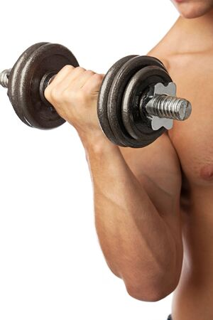 Cropped view of a muscular man lifting weights Stock Photo - 14164863