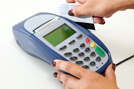 bank card: Moment of payment with credit card through terminal