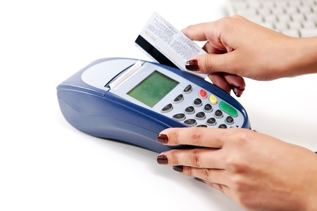 credit card purchase: Moment of payment with credit card through terminal