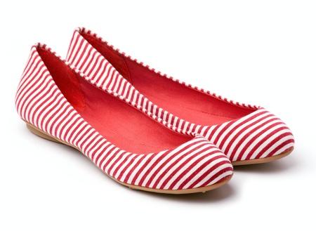 Pair of female summer shoe on white background