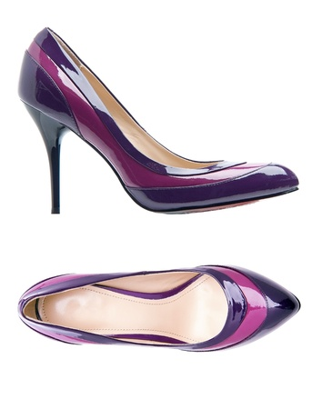 Violet female shoes over white  With clipping path   Stock Photo - 16827813