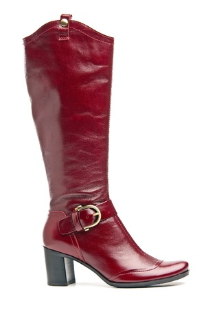 knee boots: Red knee high boot over white Stock Photo
