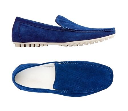 moccasins: Blue male moccasins over white, with clipping path  Stock Photo