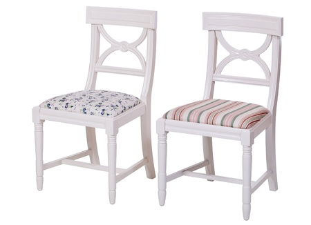Two elegant dining chairs isolated over white, with clipping path  photo