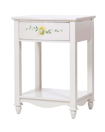 bedroom furniture: White wooden nightstand isolated, with clipping path