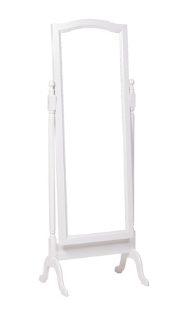 full length mirror: Full length dressing mirror on stand  Folding free-standing mirror isolated over white  With clipping path  Stock Photo