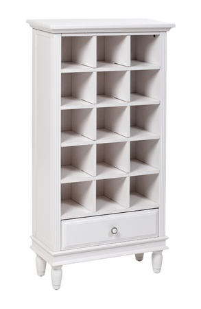 Empty white wooden bookcase  shelving unit , with clipping path  photo