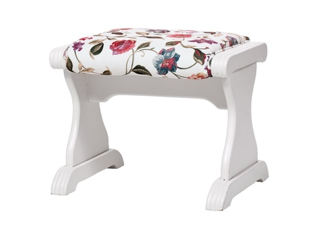 footstool: White footstool with floral print isolated  With clipping path   Stock Photo