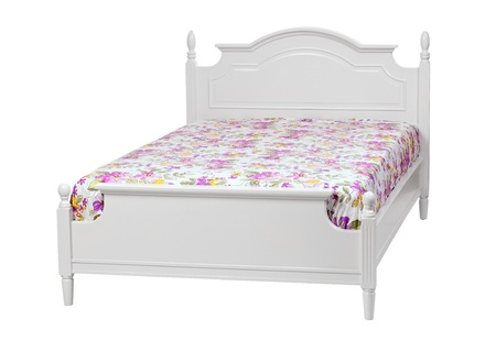 Modern double bed with cotton sheet   With clipping path  photo
