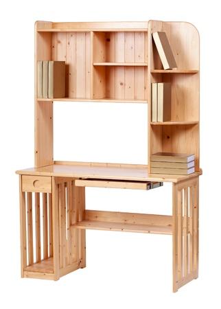 muebles de madera: Estación de trabajo de madera sobre blanco, con trazado de recorte