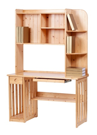 Wooden workstation over white, with clipping path  photo