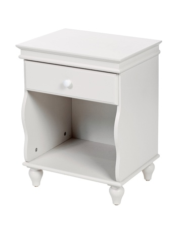White wooden nightstand isolated, with path photo