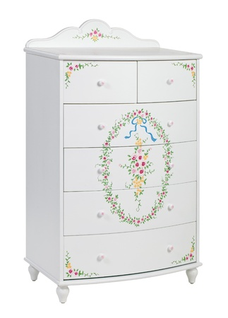 chest of drawers: White wooden chest of drawers isolated, with clipping path