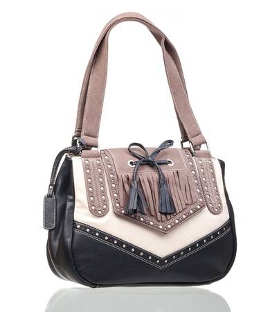 Female rivet bag over white photo