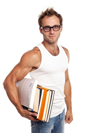 Caucasian man carrying stack of books on white background  photo