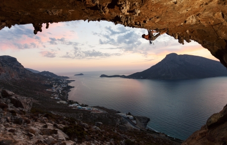 lead rope: Silhouette of a rock climber against picturesque view of Telendos Island at sunset  Kalymnos Island, Greece