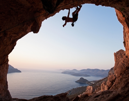 lead rope: Silhouette of a rock climber at sunset  Kalymnos Island, Greece
