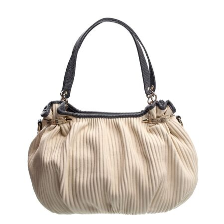 woman handle success: Fashion women bag isolated over white