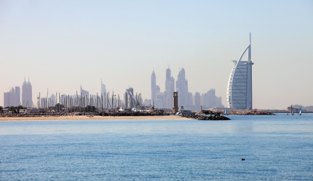 east coast: DUBAI, UAE  It stands on an artificial island out from Jumeirah beach and is shaped as the sail of a ship   Editorial