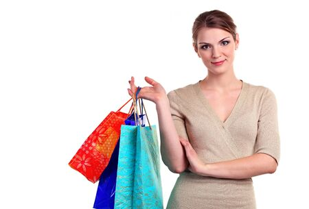 Portrait of pretty young woman with shopping bags  photo
