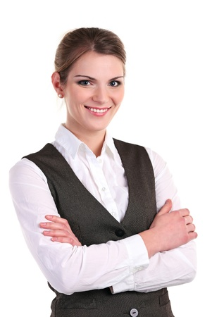 Young business woman smiling brightly and standing with her hands folded Stock Photo - 16827375