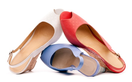 opentoe: Three open-toe women shoes against white background