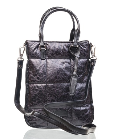 woman handle success: Black female shoulder bag over white Stock Photo
