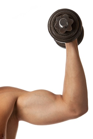 Cropped view of a muscular man lifting a dumbbell over white Stock Photo - 16740763