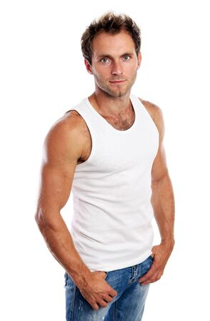 undershirt: Portrait of handsome young man standing on white background