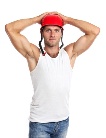 overseer: Young Caucasian man in a helmet isolated on a white background
