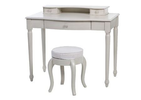 Elegant white dressing table and stool, with clipping path  photo