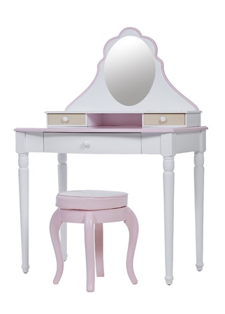 Elegant pink dressing table and stool isolated over white, with clipping path  photo