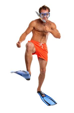 swim goggles: Nadador Cauc�sico con m�scara, tubo y aletas para caminar