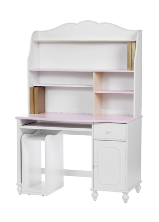 Wooden workstation  desk and bookcase  over white, with clipping path  photo