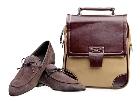 loafers: Pair of brown men loafers and messenger bag isolated over white