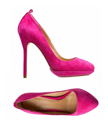high heel shoes: Purple women shoes isolated over white, side view and view from above