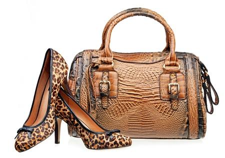 Paar vrouwen schoenen en handtas geà ¯ soleerd over white Stockfoto