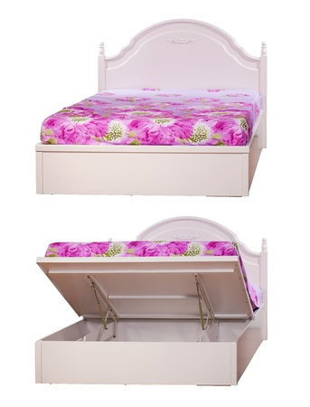 Bed with lifting mechanism isolated over white  With clipping path  photo