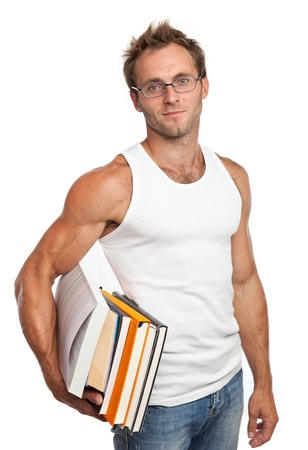 undershirt: Caucasian man carrying stack of books over white