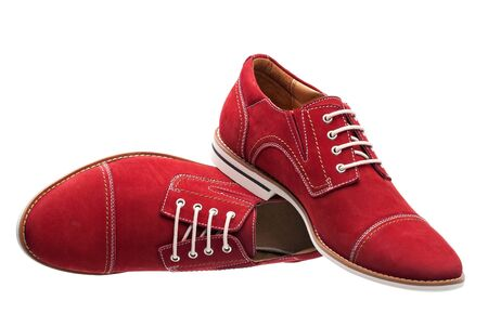 Red men laced shoes isolated over white Stock Photo - 16730331