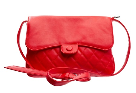 woman handle success: Red women purse isolated over white
