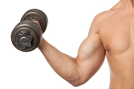 Cropped view of a muscular man lifting a dumbbell over white Stock Photo - 16827678
