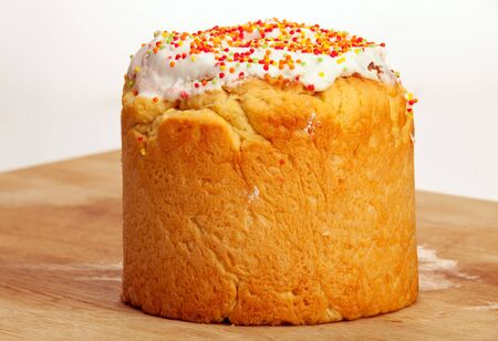paskha: Easter cake on kitchen board  Stock Photo