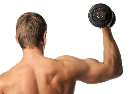 strong arm: Muscular young man lifting a dumbbell over white, rear view