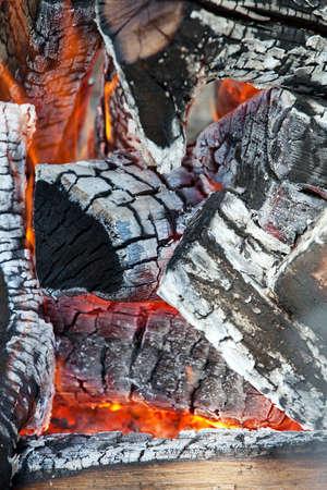 Wood fire, closeup view  photo