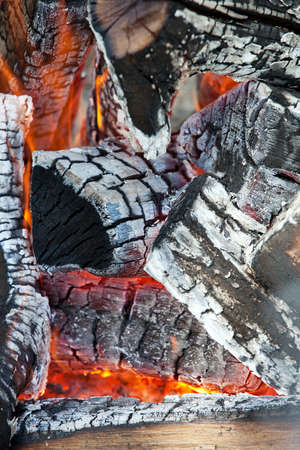 ember: Wood fire, closeup view  Stock Photo